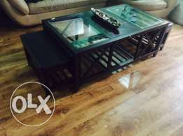 Coffee table with two chairs,slight dent on surface ,125Qr