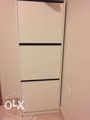 Ikea BISSA Shoe cabinet with 3 compartments, white