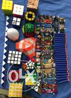 Rubiks cubes-nerf bullets-tech decks(small skateboards)-trash packs