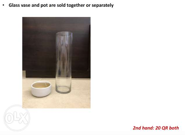 Glass vase and pot are sold together or separately