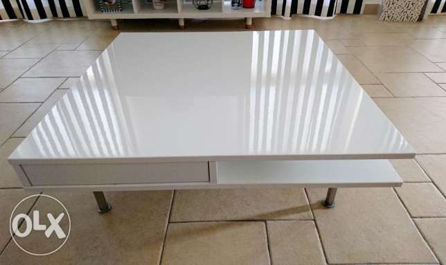IKEA high gloss white square coffee table