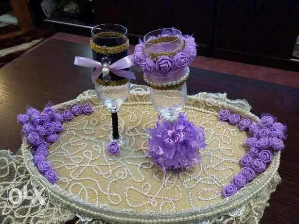 Wedding drinks glass with tray
