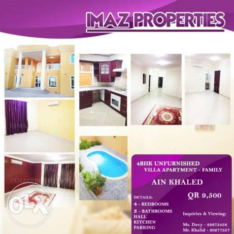 AA//: 4BR Unfurnished Villa Apartment