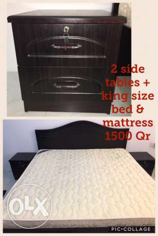 bed king size + mattress + 2 side tables