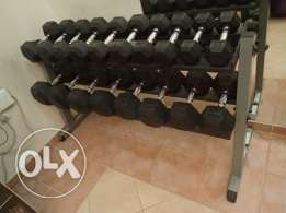Body-Solid Rubber Hex Dumbbell Weight Set with Rack