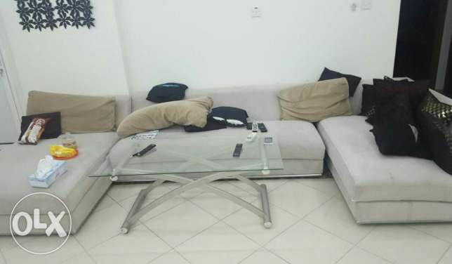L shape sofa set.