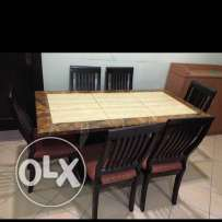 Marble Dining table and 6cheer