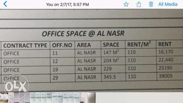 Office room for rent at Al nasr