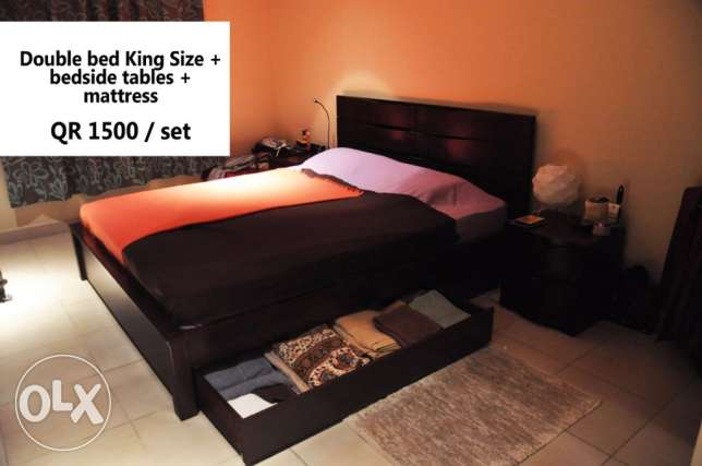 (Home centre) King size bed, mattress and 2 bedside tables