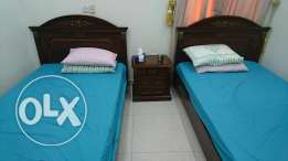 Bed room 2single beds and boardrope