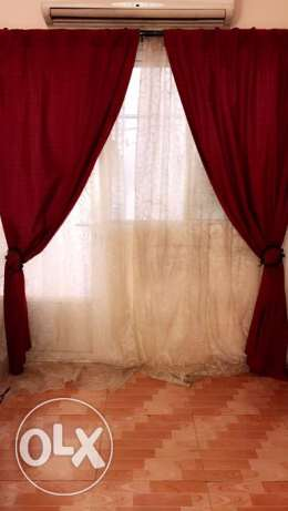 2 Pair of dark red curtains+ light ones