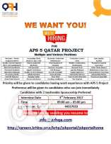 We are Hiring for APS 5 Qatar Project