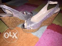 Used Wedge Silver Shoes size 36 in very good condition for Only 85QR