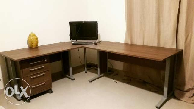 Walnut Corner desk computer table with cabinet from ID Design