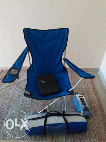 2 man tent with camping chair, air bed and pump and other items