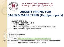 Sales & Marketing (Car Spare Parts)