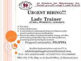 we have an urgent hiring for Lady trainer for Zumba & Aerobics