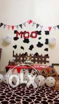 Theme birthday decor ( MOO ) Available