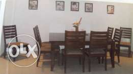 1 Dining Set: Table with 8 chairs