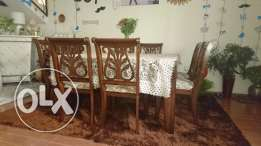 Decorated Square wooden Dining table with 8 chairs